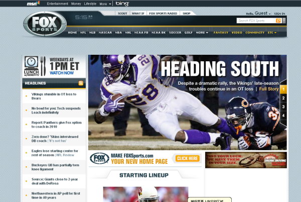Screenshot of Fox Sports Web